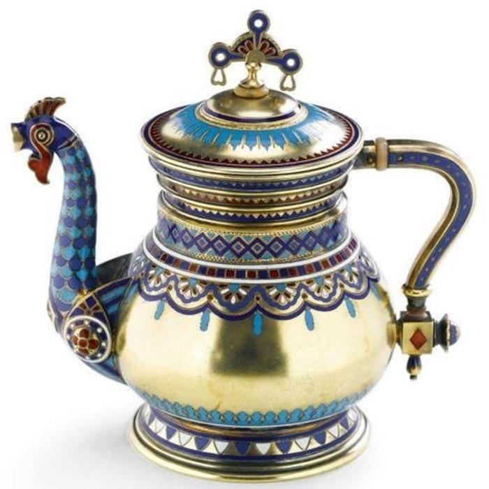 Чайник. Серебро, золочение, эмали (1883 г.) Хлебников.